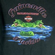 Harley Davidson Motorcycle T-Shirt Small GAINESVILLE FLORIDA ALLIGATOR FIRE WING
