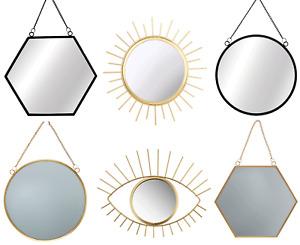 Sass & Belle Hanging Round Gold Mirrors Black Hexagon Mirror Metal Chain Link