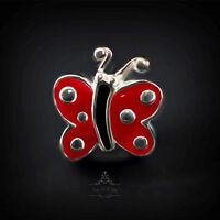 Genuine SOLID 925 Sterling Silver charm bead lucky butterfly fits bracelets AUM