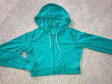 Athleta Running Hoodie Zipper Cropped Poly Stretch Jacket Green Small EUC