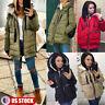 Womens Heavyweight WindproofParka Jackets Fur Hooded Warm Winter Full-Zip Coat