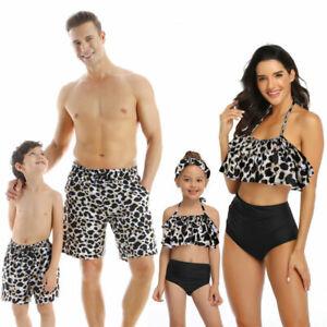Swimwear Beach Wear Set Leopard Parent Child Mother Daughter Father Kid Swimsuit