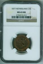 NETHERLAND 1877 2 1/2 CENT NGC MS-65 RB SCARCE CONDITION