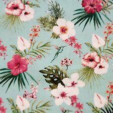 Green/Pink Hawaiian Hibiscus Lilly Humming Bird Leaf cotton fabric tropical