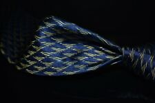 Thomas Pink Hand Made in England Marine Blue Textured Gold Squiggle Silk Tie NR