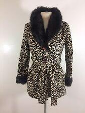 Vtg 90s CLUB KID Leopard Print Faux MINK Fur ROBE COAT Jacket S