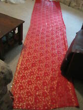 CHINESE RED SILK FABRIC WITH GOLD HOLLY DESIGN Reversible 5' x 11'