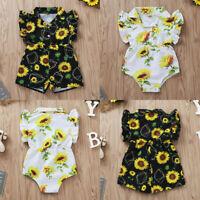 Toddler Kids Baby Girls Summer Ruffle Sunflower Printed Romper Jumpsuit Playsuit