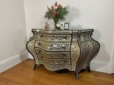 Vintage Mother of Pearl Inlaid French Bombe Chest of Drawers-Commode-Sideboard