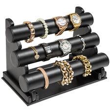 Porte-bracelets et montres Présentoir à bijoux 3 barres colliers bracelets noir