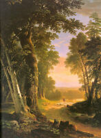 Art Oil painting Durand Asher Brown American The Beeches shepherdess Hand paint