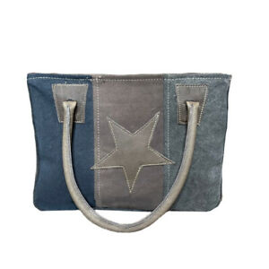 Myra Bag Womens Star On Upcycled Canvas And Leather Tote