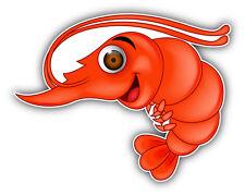 "Funny Shrimp Cartoon Car Bumper Sticker Decal 5"" x 4"""