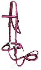 Braided Nylon Bitless Bridle with Knotted Reins - PINK - New Horse Tack