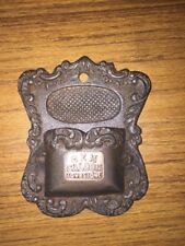 "Cast Iron Match Holder Mantle Fireplace ""Gem Saloon Tombstone"" Brass Plated!"