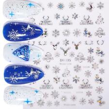 Holographics Christmas 3D Nail Stickers Snowflake Nail Art Transfer Decals Decor