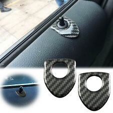 2x Carbon Fiber Shield Style Door Lock Pin Sticker Protection Decal Trim Fit BMW