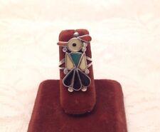 Vintage Southwestern Zuni Bird Ring Black Onyx Turquoise MOP Coral Size 5.75