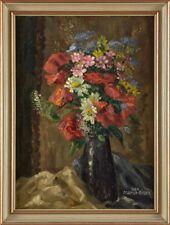 Bild Öl Blumen Blumenstrauß Gemälde Signiert Thea Greiner-Bader