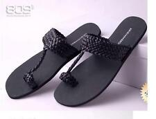Black Mens Weaving Leather Thong Slippers Beach Flip Flops Shoes Casual Sandals