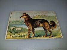 ANTIQUE VICTORIAN TRADE CARD HB MITCHELL SEWING MACHINE SHEPHERD OR COLLIE DOG