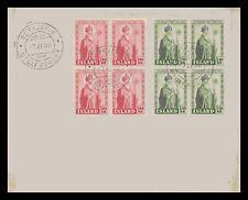Iceland 1950 FDC, Bishop Jón Arason, 2 Blocks of Four. Lot # 2.