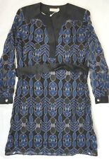 NWT Tory Burch Women's Black/Blue Harbor Dress w Fuses Mesh Leaves Small S