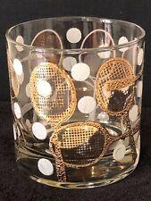 Vtg Georges Briard Drink Glass Mid-Century Tumbler - Gold Tennis Racquet & Ball