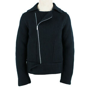 Mihara Yasuhiro Black Ribbed Knit Zipped Front Jacket IT46 S