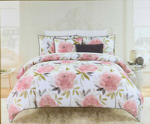 3 Pc. NIcole Miller Floral Full/Queen Duvet Cover Set  Pink/Multi  100% Cotton