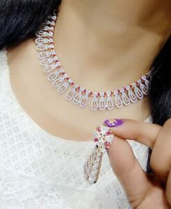 Indian Bollywood Style AD Beautiful Necklace Set With Earring
