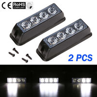 2PCS 12V 4 LED White Recovery Flashing Grille Beacons Warning Strobe Light 24V