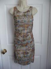 ZARA Trafaluc Dress S Graphic Paisley Wiggle Ruched Sides Draped Front Mini BOHO