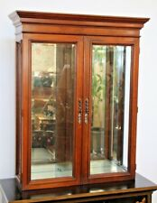 Gorgeous Lighted Tabletop Wall Curio China Cabinet Beveled Glass Mirror Back