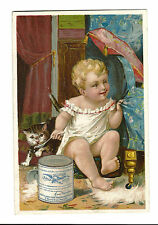 Old Trade Card Gail Borden Eagle Brand Condensed Milk Co New York Baby Food Cat