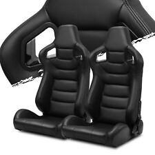 Pairs Black+Side carbon Fiber Mixed PVC leather L/R Racing Bucket Seat+Slider