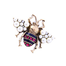 Insect Brooch! Brand New! Gorgeous Crystal,Pearl & Enamel Bee