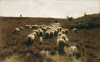 Oil painting The Return of the Flock at Laren by Anton Mauve sheep in landscape