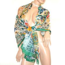 ÉTOLE VERT ORANGE femme maxi foulard 20% soie châle fantaisie écharpe voilée G74