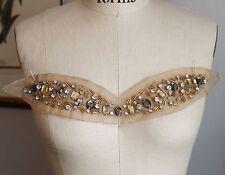 Sheer Glass Rhinestone & Bead Applique Neckline - Golden Brown Dark Champagne