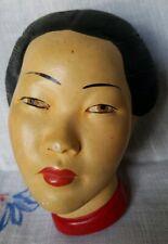 Asian Geisha Girl Japanese Chinese Chalkware Head Bust Woman Mid Century Plaque
