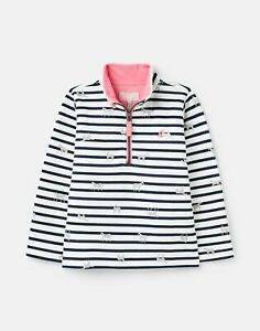 Joules Girls 211213 Half Zip Sweatshirt - Cream Shiny Horses