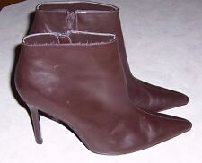 COLIN STUART Brown Leather Fashion Ankle Boots High Heel Pointed Toe Womens 8.5M