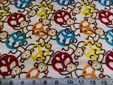 "PEACE MONKEYS TOSS COTTON FLANNEL FABRIC  Peace Sign Monkey 1 1/3 YARD (48"")"