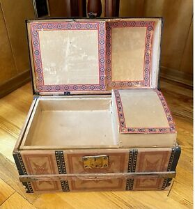 Antique Victorian Child's Domed Doll Trunk w/ Tray - Litho Paper Over Wood