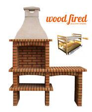 Outdoor brick masonry Mediterranean BBQ with,shelf, chimney and 65 X 40 grill