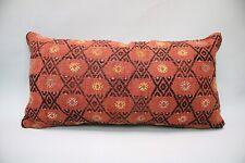 """Kilim Lumbar Pillow Cover, 12""""x24"""", Decorative Pillow, Handmade Vintage Pillow"""