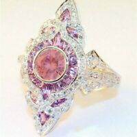 Luxury Pink Topaz Cocktail Party Ring 925 Silver Wedding Band Bride Jewelry Gift