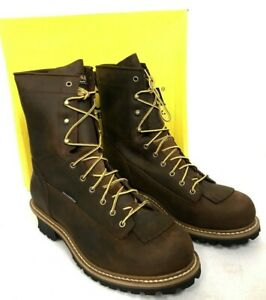 """Men's Carolina Waterproof Logger CA8824 Brown Leather 8"""" Lace Up Boots Size 14EE"""