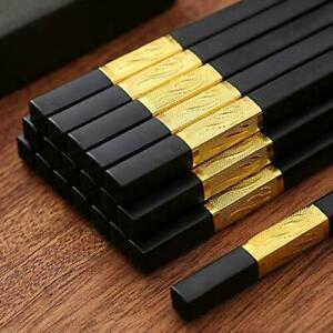 5-Pair Top Quality Fiberglass Alloy Chopsticks Non-slip Engraved Odor-Resistance
